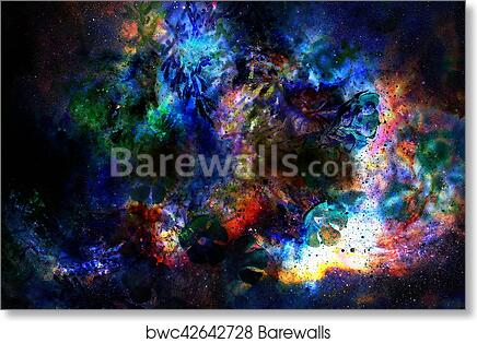 Cosmic Space With Flowers Color Galaxy Background Computer Collage Art Print Poster