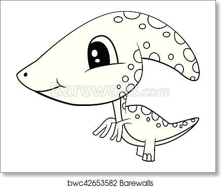 Art print of cute black and white cartoon baby parasaurolophus dinosaur