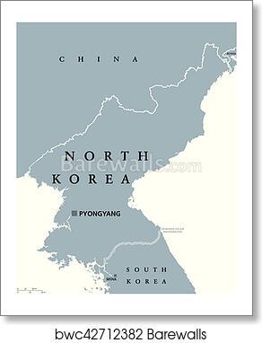 Art Print of North Korea political map | Barewalls Posters & Prints ...