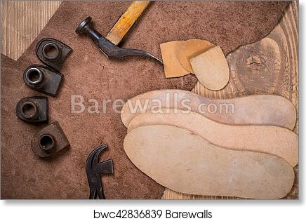 Art Print Of Set Of Leather Craft Tools On Wooden Background