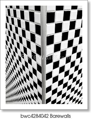 Black And White Checkerboard Tiles Art