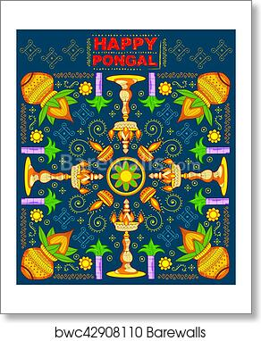 Art print of happy pongal greeting background barewalls posters art print of happy pongal greeting background m4hsunfo
