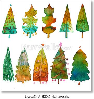 Christmas Tree White Background.Big Collection Of Watercolor Christmas Tree Isolated On A White Background Design Holiday Christmas Trees For Wrapping Paper Scrapbooking Art Print