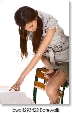 Art Print Of Asian Schoolgirl Cheating During Math Test