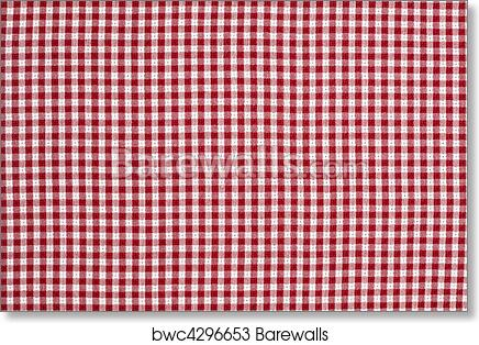 Art Print Of Red And White Gingham Checkered Tablecloth Background