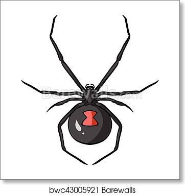 Art print of black widow spider icon in cartoon style isolated on white background insects symbol stock vector illustration