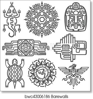 0fec76d278551 Ancient mexican vector mythology symbols. american aztec, mayan culture  native totem patterns, Art Print