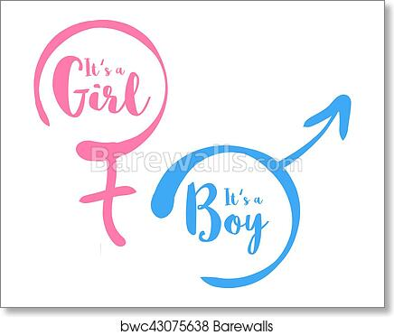 art print of its a boy or girl baby shower invitation template