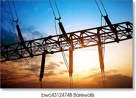Silhouette of substation electrical equipment art print poster
