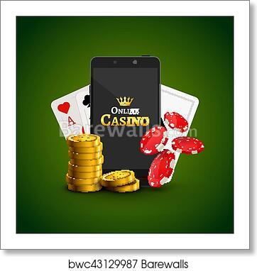 Art Print Of Online Mobile Background Concept Smart Phone With Chips Cards And Coins