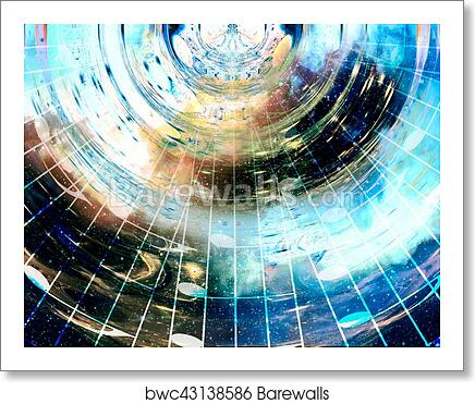 Music notes in space with stars  abstract color background  Music concept   art print poster