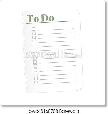 photograph about Blank to Do List known as In the direction of do listing. Torn a blank sheet of paper towards historical past the finished jobs. Vector example. Isolated upon white heritage. artwork print poster