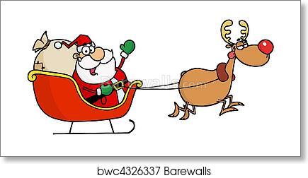 art print of kris kringle in his sleigh barewalls posters prints