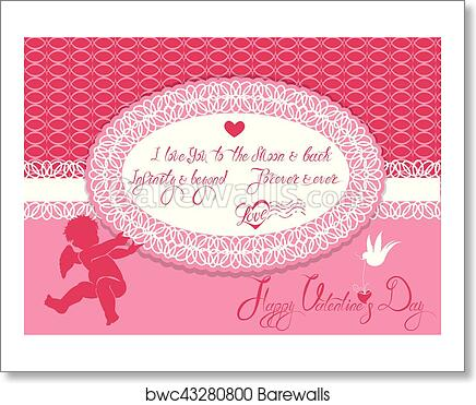 Art Print of Horizontal Holiday card with cute angel and oval frame ...