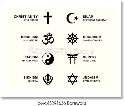Art Print Of World Religion Symbols With English Labeling