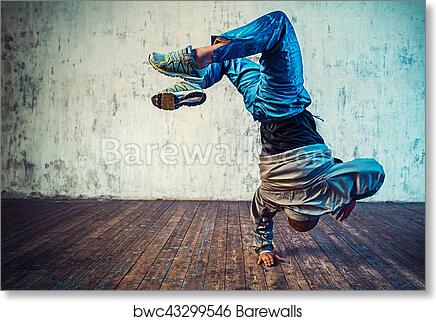 Art Print Of Man Dancing On Wall Background
