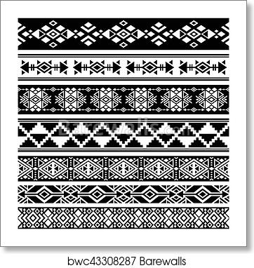 African and mexican aztec american tribal vector borders, frame patterns  art print poster