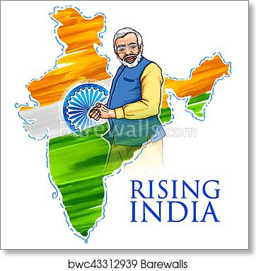 India Map Flag.India Map Tricolor Flag Background With Proud Indian People Art