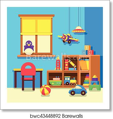 Preschool Kindergarten Classroom With Toys Cartoon Vector Illustration Art Print Barewalls Posters Prints Bwc43448892