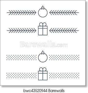 art print of new year minimalistic text separator christmas theme linear border xmas decor