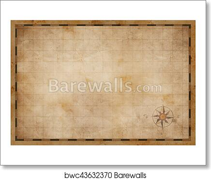 Art Print Of Old Blank Map Background