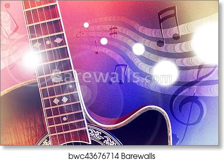 Illustration acoustic guitar with red and blue lights horizontal art print  poster