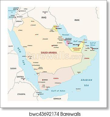 Art Print of Arabian peninsula map | Barewalls Posters & Prints ...