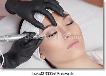 art print of cosmetologist making permanent makeup at beauty salon