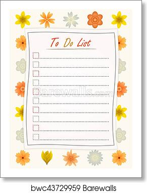 art print of to do list paper on the flower design background