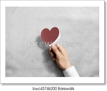 Art Print Of Hand Holding Blank Red Valentine S Card Mockup