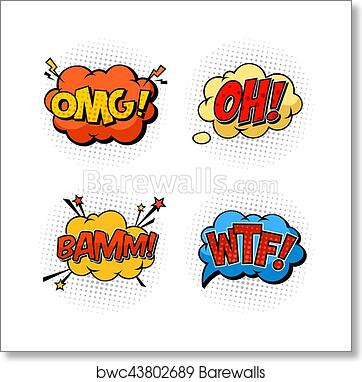 Onomatopoeia sounds omg and wtf, oh and bam art print poster