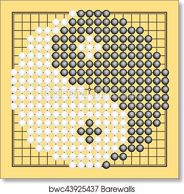 Vector Go Game Or Weiqi Chinese Board Game With Yin Yang Symbol
