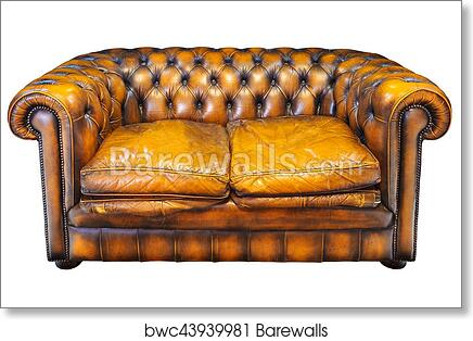Enjoyable Vintage Brown Leather Chesterfield Sofa Isolated On White Art Print Poster Pabps2019 Chair Design Images Pabps2019Com