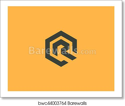 art print of abstract letter r vector logotype line hexagon creative simple logo design template universal geometric symbol font icon