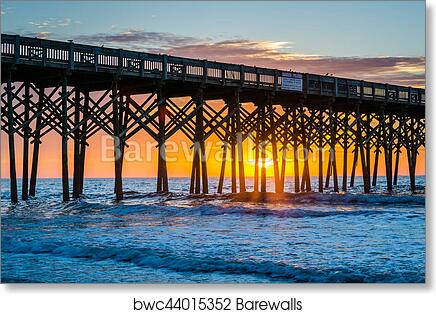 The pier at sunrise, in Folly Beach, South Carolina  art print poster