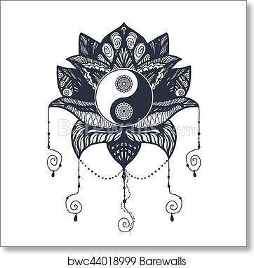 Vintage Yin And Yang In Lotus Art Print Barewalls Posters