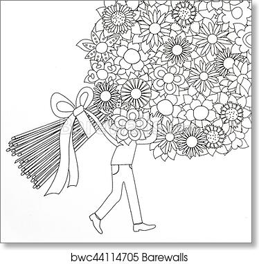 Coloring pages for adults boy and flowers, Art Print | Barewalls ...