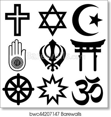 Art Print Of Religious Symbols From The Top Nine Organised Faiths Of