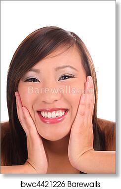 Art Print Of Tight Portrait Teen Asian Girl Big Smile