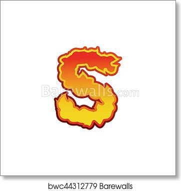 f3ea8e50ebb9 Art Print of Letter S fire. Flames font lettering. Tattoo alphabet  character. fiery sign alphabet