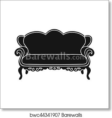 Vintage Sofa Icon In Black Style Isolated On White Background Furniture And Home Interior Symbol Stock Bitmap Rastr Ilration Art Print Poster