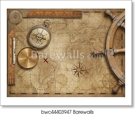 Adventure And Explore Concept Still Life With Old Nautical World Map