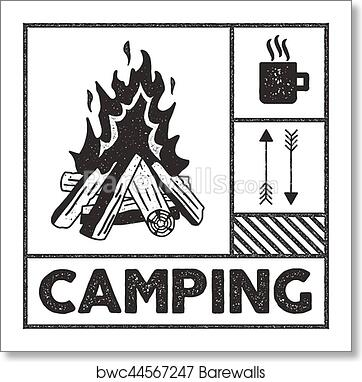 Art Print Of Wanderlust Camping Stamp Old School Hand Drawn T Shirt