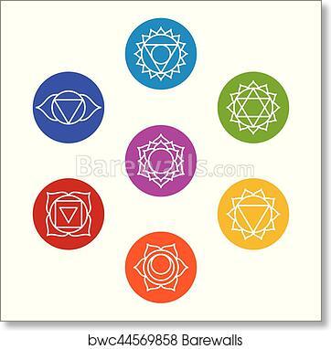 Art Print Of Set Of Seven Chakra Symbols Yoga Meditation