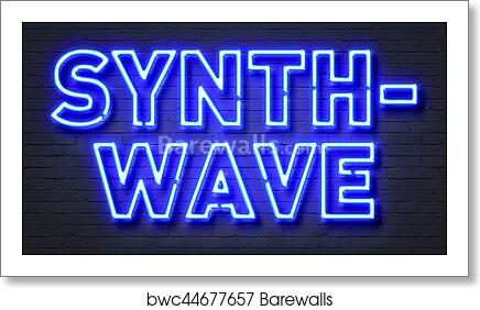 Synthwave neon sign on brick wall background  art print poster