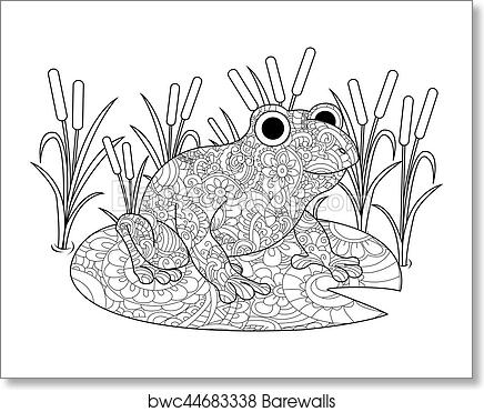 Art Print Of Frog On A Lily In The Swamp Coloring Book For Adults Vector