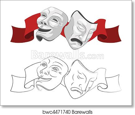 Theatre comedy and tragedy masks art print poster
