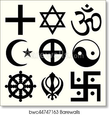 Art Print Of Religious Symbols From The Top Organised Faiths Of The