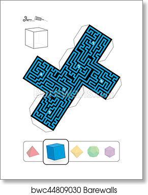 Art Print of Platonic Solid Hexahedron Maze | Barewalls Posters ...