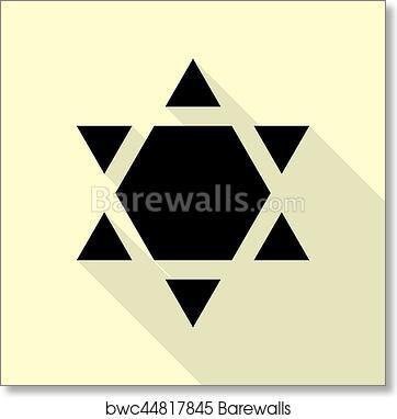 Art Print Of Shield Magen David Star Inverse Symbol Of Israel